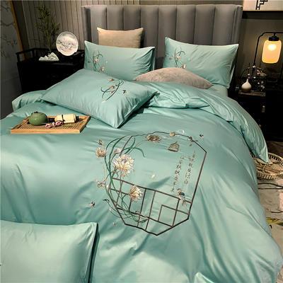 13374长绒棉纯色刺绣工艺款四件套 1.8m床单款四件套 彩韵-豆绿