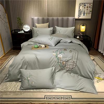 13374长绒棉纯色刺绣工艺款四件套 1.8m床单款四件套 彩韵-浅灰