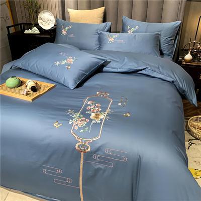 13374长绒棉纯色刺绣工艺款四件套 1.5m床单款四件套 流年-蓝灰
