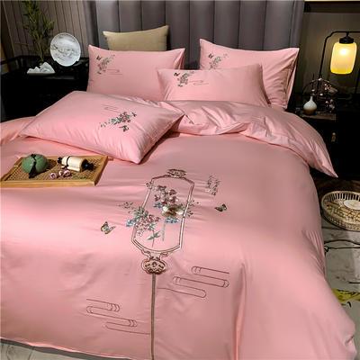 13374长绒棉纯色刺绣工艺款四件套 1.5m床单款四件套 流年-粉玉