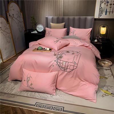 13374长绒棉纯色刺绣工艺款四件套 1.5m床单款四件套 彩韵-粉玉
