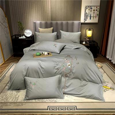 13374长绒棉纯色刺绣工艺款四件套 1.5m床单款四件套 流年-浅灰