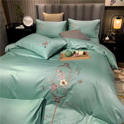 13374长绒棉纯色刺绣工艺款四件套 1.8m床单款四件套 流年-豆绿