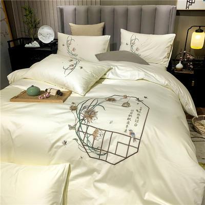 13374长绒棉纯色刺绣工艺款四件套 1.5m床单款四件套 彩韵-奶白