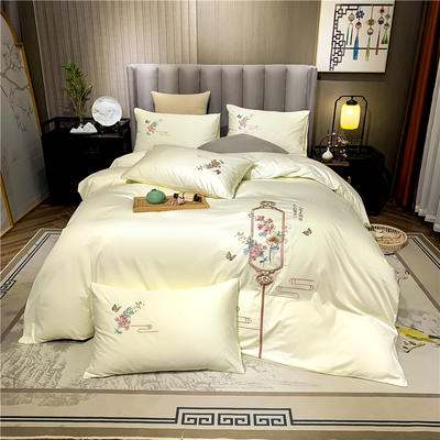 13374长绒棉纯色刺绣工艺款四件套 1.5m床单款四件套 流年-奶白