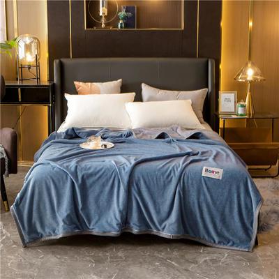 2020新款贝贝绒复合毯 155*220cm 蓝灰-复合毯