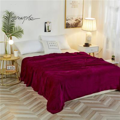 2020新款法兰绒毛毯 180*230cm 酒红