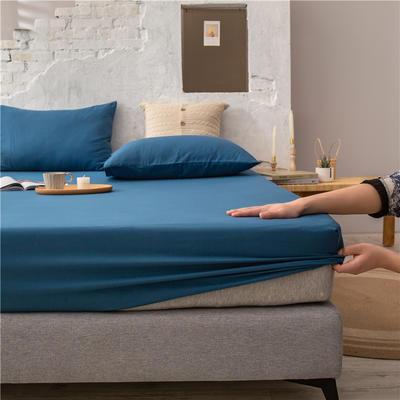 2021新款 单品床笠、床笠三件套 席梦思保护套-40s长绒棉-兰紫橙家纺 150*200+25cm 月光蓝