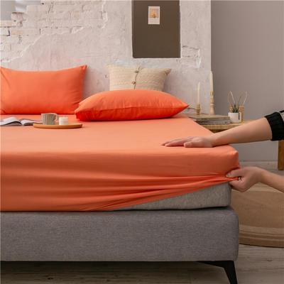 2021新款 单品床笠、床笠三件套 席梦思保护套-40s长绒棉-兰紫橙家纺 150*200+25cm 橙色