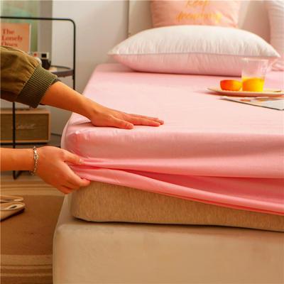 2021新款 单品床笠、床笠三件套 席梦思保护套-40s长绒棉-兰紫橙家纺 150*200+25cm 粉玉