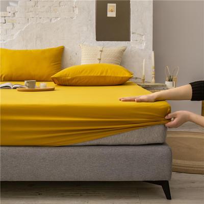 2021新款 单品床笠、床笠三件套 席梦思保护套-40s长绒棉-兰紫橙家纺 150*200+25cm 姜黄