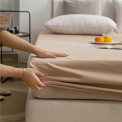 2021新款 单品床笠、床笠三件套 席梦思保护套-40s长绒棉-兰紫橙家纺 150*200+25cm 卡其