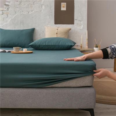 2021新款 单品床笠、床笠三件套 席梦思保护套-40s长绒棉-兰紫橙家纺 150*200+25cm 墨绿