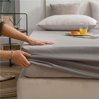 2021新款 单品床笠、床笠三件套 席梦思保护套-40s长绒棉-兰紫橙家纺 150*200+25cm 浅灰