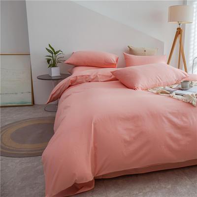 2021新款长绒棉纯色四件套 1.2米床三件套床单款 粉玉