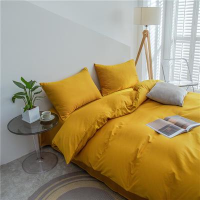 2021新款长绒棉纯色四件套 1.2米床三件套床单款 姜黄