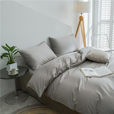 2021新款长绒棉纯色四件套 1.2米床三件套床单款 浅灰