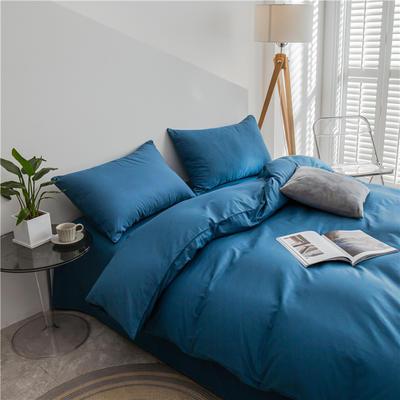 2021新款长绒棉纯色四件套 1.2米床三件套床单款 月光蓝