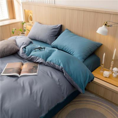 2021新款长绒棉纯色四件套 1.2米床三件套床单款 中灰+月光蓝