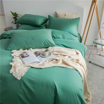 2021新款长绒棉纯色四件套 1.2米床三件套床单款 中绿