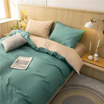 2021新款长绒棉纯色四件套 1.2米床三件套床单款 中绿+卡其
