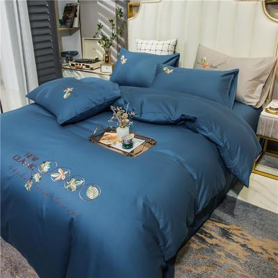 2021新款长绒棉纯色全棉简约绣花四件套 1.8m床单款四件套 枫叶-月光蓝