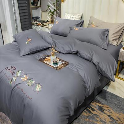 2021新款长绒棉纯色全棉简约绣花四件套 1.8m床单款四件套 枫叶-中灰