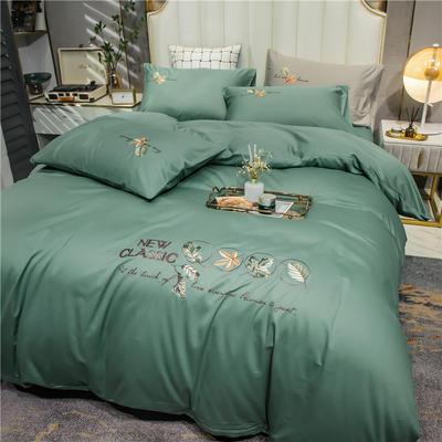 2021新款长绒棉纯色全棉简约绣花四件套 1.8m床单款四件套 枫叶-中绿