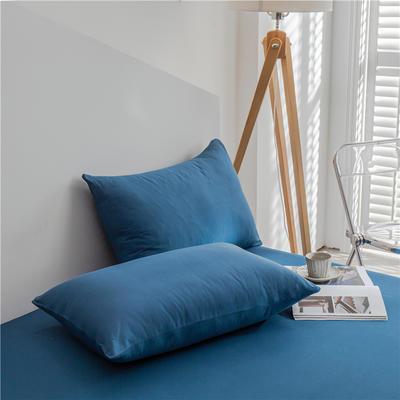 兰紫橙 长绒棉纯色枕套 48cmX74cm 月光蓝