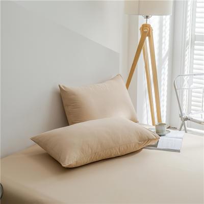 兰紫橙 长绒棉纯色枕套 48cmX74cm 卡其