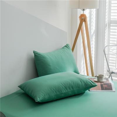 兰紫橙 长绒棉纯色枕套 48cmX74cm 中绿