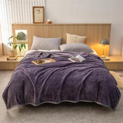 2021新款贝贝绒加厚280克重保暖包边毛毯 180*200cm 豆沙紫