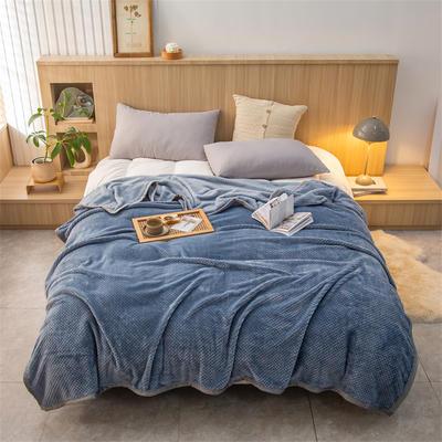 2021新款贝贝绒加厚280克重保暖包边毛毯 180*200cm 灰蓝