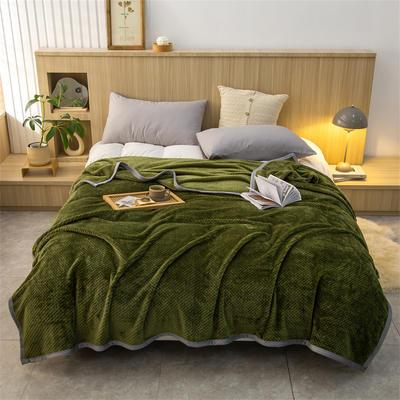 2021新款贝贝绒加厚280克重保暖包边毛毯 180*200cm 军绿
