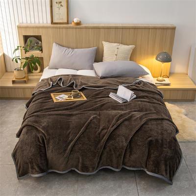 2021新款贝贝绒加厚280克重保暖包边毛毯 180*200cm 咖啡
