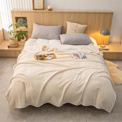 2021新款贝贝绒加厚280克重保暖包边毛毯 180*200cm 米白