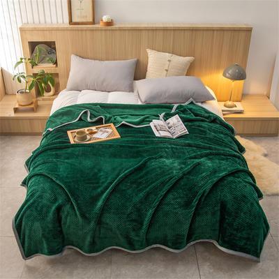 2021新款贝贝绒加厚280克重保暖包边毛毯 180*200cm 墨绿