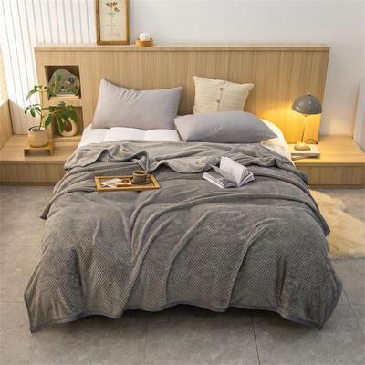 2021新款贝贝绒加厚280克重保暖包边毛毯 180*200cm 银灰