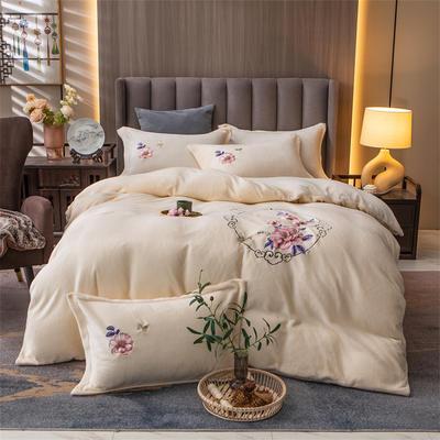 2021新款牛奶绒刺绣四件套 1.8m床单款四件套 富贵花开-米白