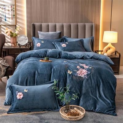 2021新款牛奶绒刺绣四件套 1.8m床单款四件套 富贵花开-雾蓝