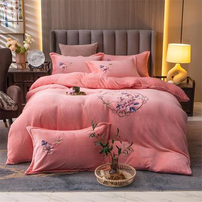 2021新款牛奶绒刺绣四件套 1.8m床单款四件套 富贵花开-玉色