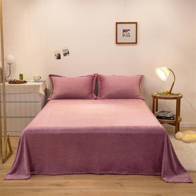 2021新款纯色法兰绒牛奶绒毛毯毯子 180*230cm 豆沙