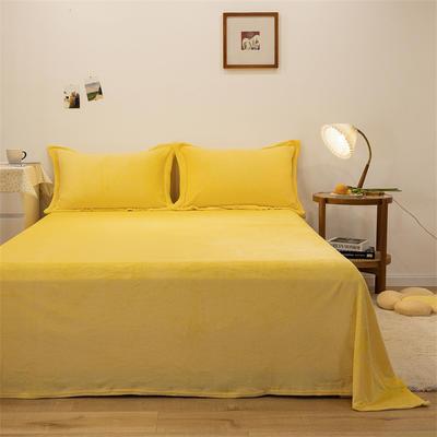 2021新款纯色法兰绒牛奶绒毛毯毯子 180*230cm 鹅黄