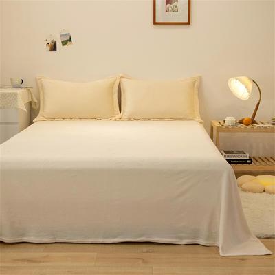 2021新款纯色法兰绒牛奶绒毛毯毯子 180*230cm 米白