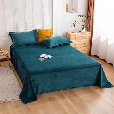 2021新款纯色法兰绒牛奶绒毛毯毯子 180*230cm 墨绿