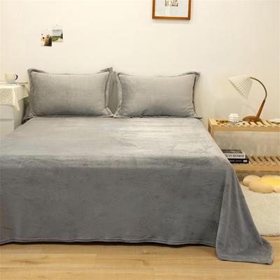 2021新款纯色法兰绒牛奶绒毛毯毯子 180*230cm 浅灰