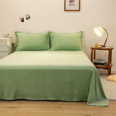 2021新款纯色法兰绒牛奶绒毛毯毯子 180*230cm 浅绿