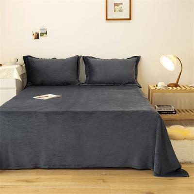 2021新款纯色法兰绒牛奶绒毛毯毯子 180*230cm 深灰