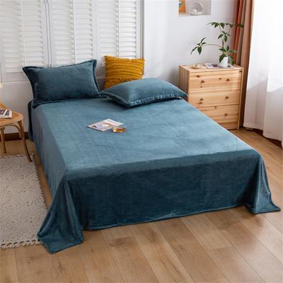2021新款纯色法兰绒牛奶绒毛毯毯子 180*230cm 雾蓝