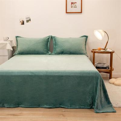 2021新款纯色法兰绒牛奶绒毛毯毯子 180*230cm 竹青